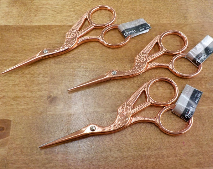 Rose Gold Stork scissors...embroidery scissors, thread snips, sharp