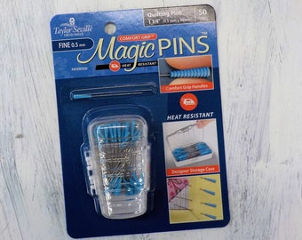 Magic Pins, Taylor Seville Originals...FINE quilting pins, .5mm x 48mm, 50 pins, comfort grip, heat resistant, designer storage case