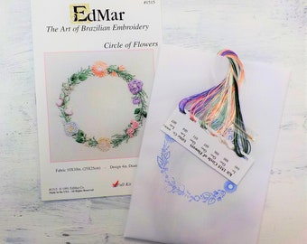 Circle of Flowers...EdMar 1515 project...Brazilian embroidery