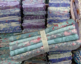 Old Rose teal and grey...5 fat quarters...a Tilda Collection designed by Tone Finnanger
