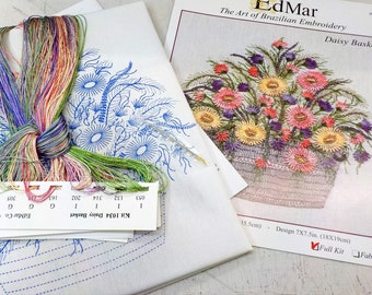 Daisy Basket...EdMar 1034 project...Brazilian embroidery kit...diy embroidery kit