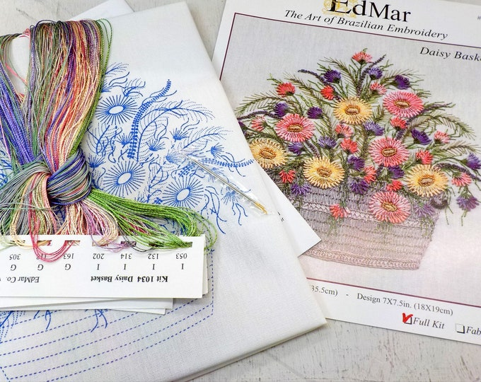 Featured listing image: Daisy Basket...EdMar 1034 project...Brazilian embroidery kit...diy embroidery kit
