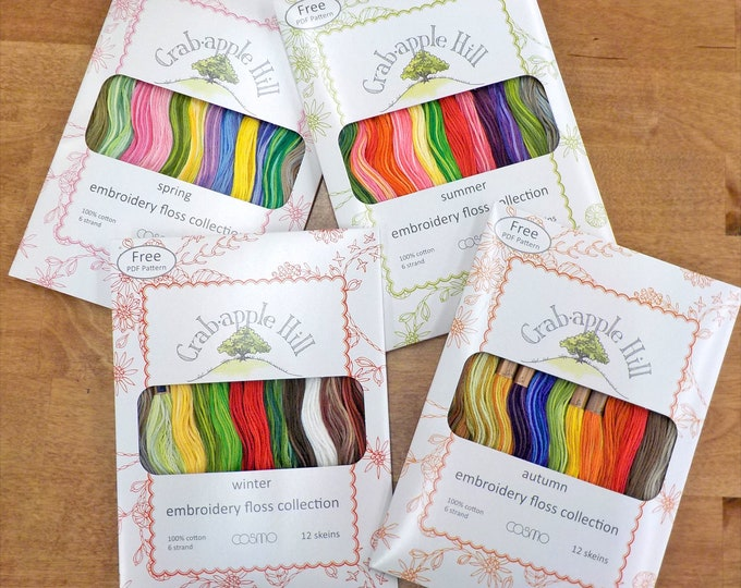 Seasons by Crabapple Hill...embroidery floss designer packs, 12 skeins, Cosmo threads, Lecien