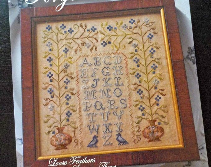 Forget Me Not, Loose Feathers Abecedarian series pattern 3 by Blackbird Designs...cross-stitch design