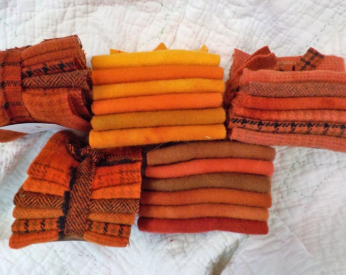 Wool 6-Pack...6 coordinating wools approximately 6 1/2 x 7 1/2 inches...5 rust and orange options