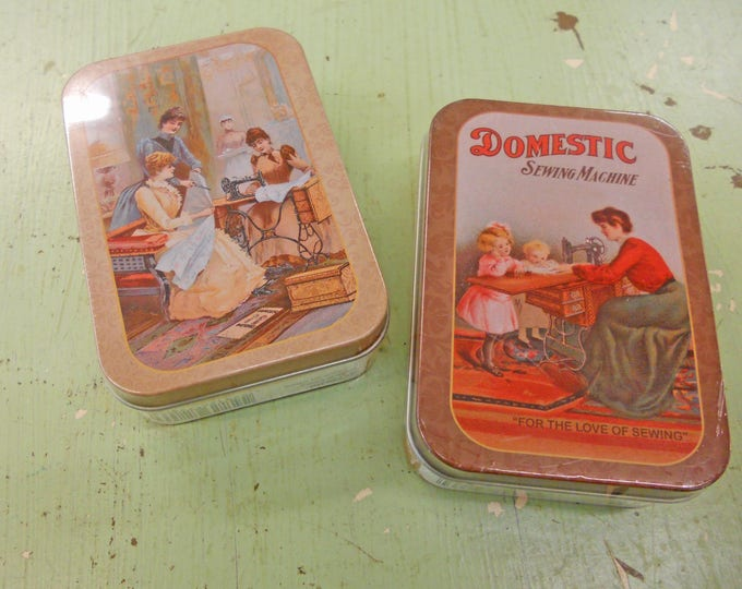 Sewing kit...travel size...features a vintage style tin