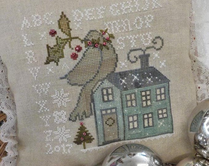 Home for the Holidays cross stitch pincushion kit, by Blackbird Designs, christmas cross stitch, holiday cross stitch, christmas kit