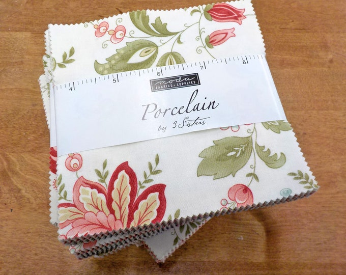 Porcelain charm pack by 3 Sisters for Moda Fabrics...factory cut charms, 42--5 inch squares