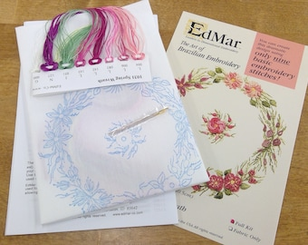 Spring Wreath..EdMar 1031 project...Brazilian embroidery kit...diy embroidery kit