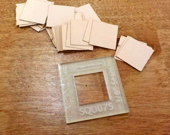 Squares, 3/4 inch...100 pieces, laser cut...acrylic template