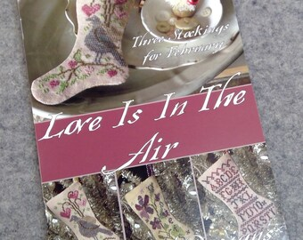 Love is in the Air, 3 Stockings for February, by Blackbird Designs...cross-stitch design
