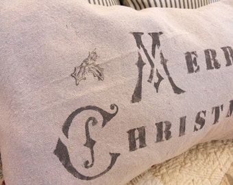 Cottage Christmas pillow cover 12 x 19 inches stamped Merry Christmas with grey