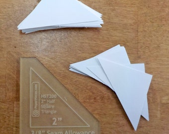 Half Square Triangles, 2 inch...100 pieces, laser cut, acrylic template