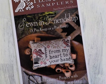 Sewn in Friendship (A Pin-Keep or a Pin-Give!) by Plum Street Samplers...cross stitch pattern, pincushion cross stitch