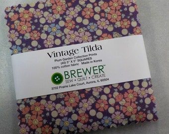 Last one! Vintage Tilda...Plum Garden charm pack...40--5 inch squares