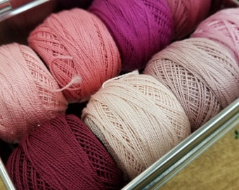 Rose Blush thread box...featuring 8 DMC perle cotton balls...no 8