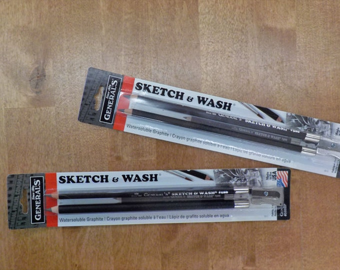 Sketch and Wash pencils by General's, 2 pencils, sharpener