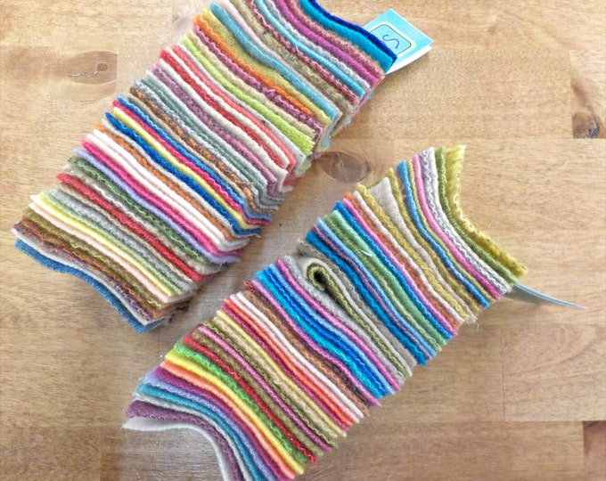 In the Patch...wool Smidgens...50--2 1/2 inch wool squares...pastel/light bright pack