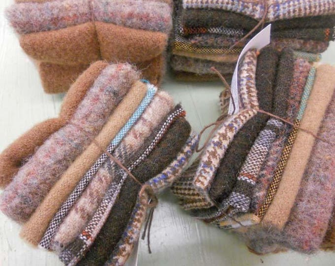 Chocolate Mousse...wool bundle...8 pieces measuring approximately 4 x 6 inches