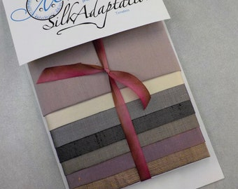 Timeless...7 piece silk pack...by MJ Hiney...hand dyed, crazy quilting, embroidery, ribbon embroidery