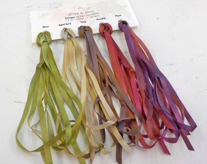 Vintages ribbon set...Gibb & Hiney, hand-dyed silk ribbon, 3.5 mm, 5 colors