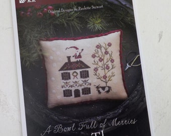 Merry Three, A Bowl Full of Merries, by Plum Street Samplers...cross stitch pattern, Christmas cross stitch, winter cross stitch