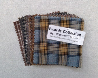 Picardy Collection...charm pack...3 1/2 inch squares...17 squares...Diamond Textile Wovens