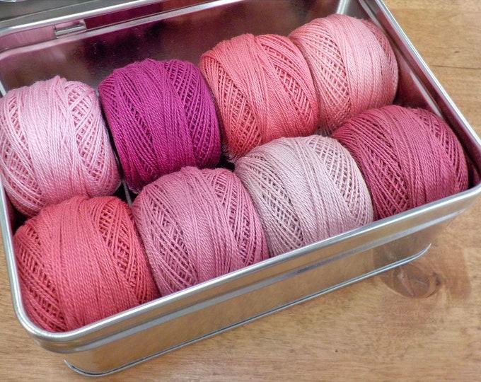 Rose Blush thread box...featuring 8 DMC perle cotton balls...no 8