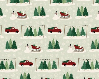 Christmas Traditions Main Mint C9590-MINT by Dani Mogstad for Riley Blake Designs...christmas truck