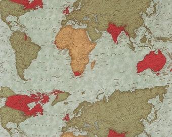 Passport World Map Multi 3929 11 by 3 Sisters for moda fabrics