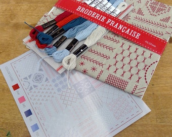 Broderie Francaise embroidery kit featuring Chafarcani Linen and Cosmo floss designed  by French General for Moda Fabrics