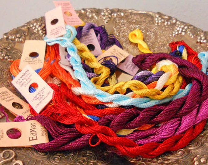 Mardi Gras Thread Pack of 10 skeins of Edmar Thread.