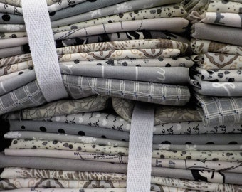 Ash and Eggshell exclusive color bundle, 12 fat quarters...grey, off white, cream