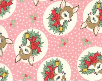 Deer Christmas Pink Buttermint 31161 15 by Urban Chiks for Moda Fabrics