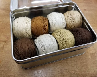 Roasted Almond thread box...featuring 8 DMC perle cotton balls...no 8