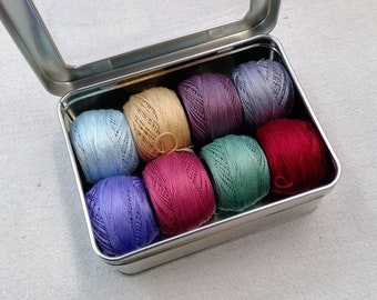 Tilda's Old Rose-Inspired thread box...featuring 8 DMC perle cotton balls...no 8