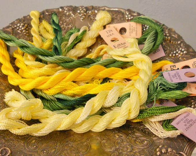 Lemon Lime Thread Pack of 10 skeins of Edmar Thread.