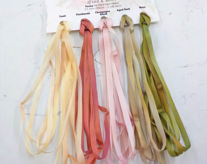 Peony ribbon set...Gibb & Hiney, hand-dyed silk ribbon, 3.5 mm, 5 colors