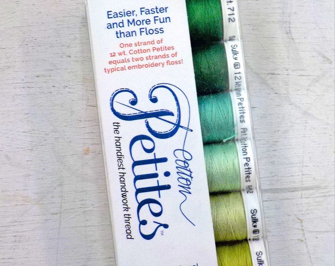 Greens Cotton Petites, the handiest handwork thread, Sulky thread, 6 colors, 12 wt thread
