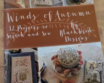 Winds of Autumn, 12 projects to stitch and sew, by Blackbird Designs, cross stitch book, autumn cross stitch