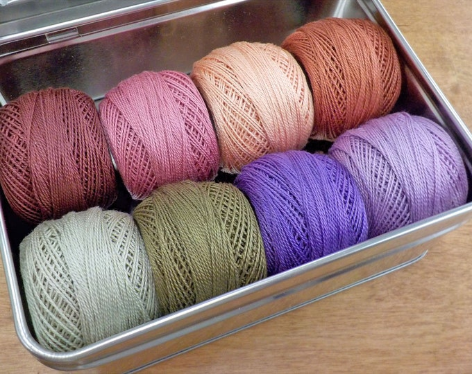Bourbon Street thread box...featuring 8 DMC perle cotton balls...no 8