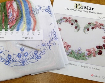 Iris Heart...EdMar 1041 project...Brazilian embroidery kit...diy embroidery kit