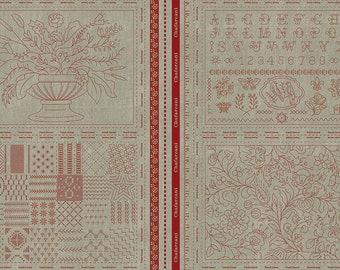 Chafarcani Linen Panel Rouge 13859 11L by French General for moda fabrics