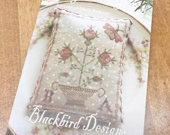 My Pink Rose, Reward of Merit Pinkeep, by Blackbird Designs...cross stitch pattern, cross stitch
