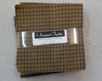 Primitive Dijon Collection...charm pack...5 inch squares...21 squares...Diamond Textiles Wovens