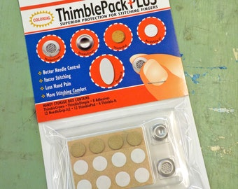 "Colonial ThimblePack Plus...""superior protection for stitching fingers"""