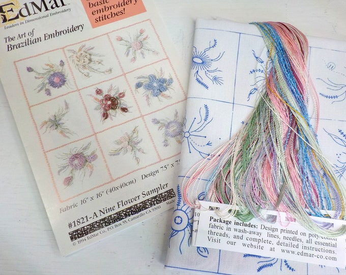 A Nine Flower Sampler...EdMar kit #1821...kit complete with instructions, preprinted thread and