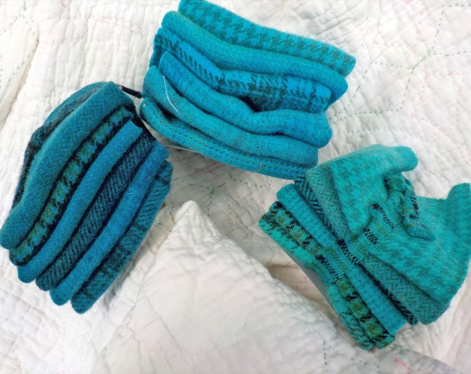 Wool 6-Pack...6 coordinating wools approximately 6 1/2 x 7 1/2 inches...3 blue/green options