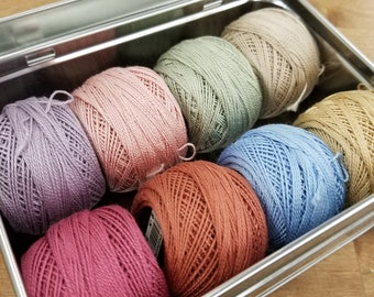 Dusky Petals thread box...featuring 8 DMC perle cotton balls...no 8