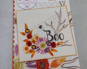 Boo embroidery pattern by Meg Hawkey of Crabapple Hill Studio